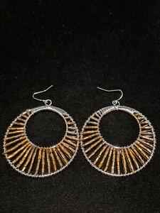 Artisan Silver Tone Wire Wrapped Bronze Glass Bead Open Hoop Dangle Earrings