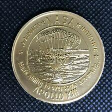 VINTAGE APOLLO 13 - GOLD TONE ALUMINUM MEDAL NASA *930
