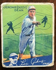 1934 Goudey #6 Jerome (Dizzy) Dean. Creases. Rough but real.