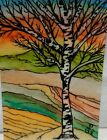 ACEO Art Card Original Watercolor /Ink, Signed, Dated, Outsider Art, Brut Art