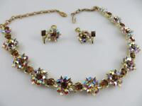 Signed Lisner Aurora Borealis Rhinestone Necklace & Screw Back Earrings