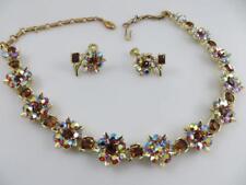 Signed Lisner Aurora Borealis Rhinestone Necklace & Screw Back Earrings