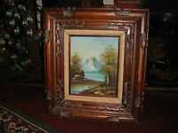 Original Warrtmann Oil Painting On Board Mountains Forest Trees Hut House Framed