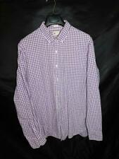 J Crew XL Purple White Plaid Shirt Tailored Fit Washed Casual Button Down Cotton