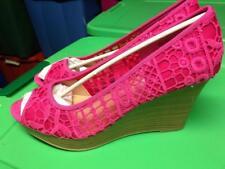 WOMENS AMERICAN EAGLE Krochet Peep Toe Wedge Platform PINK HEEL shoe size 12