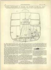 1883 General Arrangement Of Engines And Boilers Ss Czar, Wallsend Built