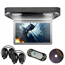 "HDMI Car Roof Mount Flip Down Overhead Ceiling Monitor 13.3"" LCD DVD Player Grey"