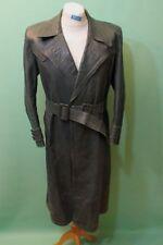 Schwerer Leder Mantel ca Gr 48 / M Schwarz-grün echt glatt Polizei Militär alt
