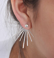STERLING SILVER 925 SILVER SPIKE EAR JACKET EARRINGS FRONT BACK EARRINGS 0088