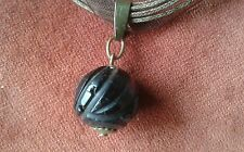 Victorian Whitby Jet Carved Bead Pendant Fob for Necklace
