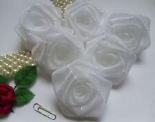"2"" White Organza Ribbon Roses Wedding Bridal Flowers-Lots 12 Pcs (R035WO)"