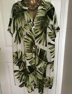 BNWT NEW H&M GREEN WHITE PALM PRINT V NECK SHORT SLEEVE TUNIC DRESS Medium  New