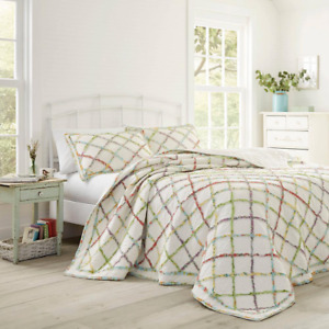 Laura Ashley Quilt King Size Reversible Rustic Soft Cotton Floral Pattern