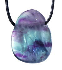 Fluorite Pendant With Leather Strap Drop Tumbled Stone Drilled GEMSTONE