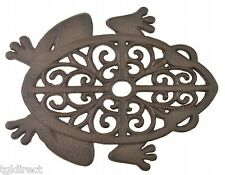 Decorative Stepping Stone Cutout Frog Cast Iron Yard & Garden Rust Brown Frogs