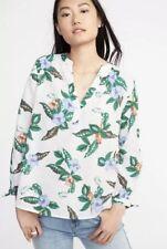 OLD Navy WOMEN'S Relaxed TIE Cuff LINEN Blend TOP Shirt V-NECK XL New TROPICAL