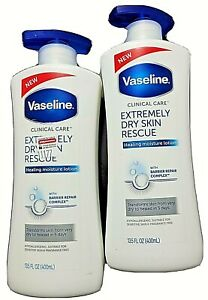 2x VASELINE CLINICAL CARE EXTREMELY DRY SKIN RESCUE HEALING LOTION  13.5 OZ