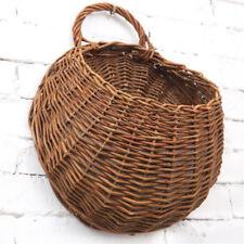 wicker brown wood wall hanging pocket basket flat back door deco TDCPYB