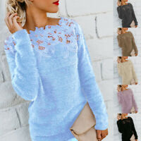 Women Long Sleeve Warm Fluffy Lace Patchwork Sweater Jumper Pullover S-5XL
