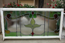 Antique English Leaded Stained Glass Window Wood Frame 48  x 26  Art Nouveau