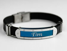 TIM - Mens Silicone & Blue Name Plate Engraved Bracelet - Friendship Gifts