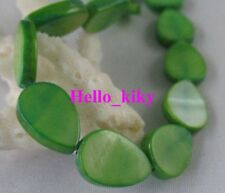 2 strands Green Shell Teardrop loose beads 12x8mm M858