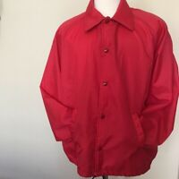 Vintage Coaches Jacket Chalk Line Mens Large Blank Unlined Nylon Red USA FLAWS