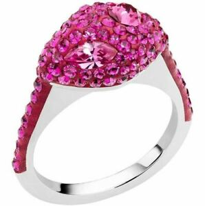 NIB$149 Atelier Swarovski Core Collection Moselle Stacking Ring Fuchsia 52 55 58