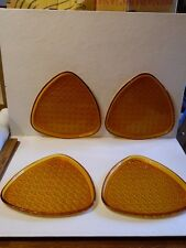 4 Triangle Amber Anchor Hocking Daisy & Button Snack Plates