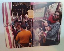 Vintage 70s PHOTO BIKER DAD IN SWEATER HOLDING LAUGH BABY GIRL BY MERRY GO ROUND