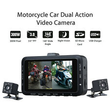 Motorcycle Sports Action Camera 140° Dual Lens Motorbike Video Recorder Dash Cam