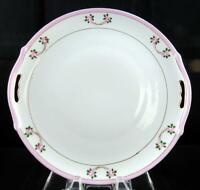 """NIPPON PINK ROSES ANTIQUE PINK BAND 10"""" HANDLED CAKE PLATE 1891-1921"""