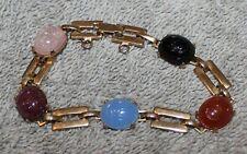Vintage Carved Stone Scarab Bracelet