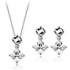Princess Cut Square Shape Cubic Zirconia Rhodium Plated Earrings & Necklace Set