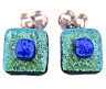 """DICHROIC Post EARRINGS Green Lime Blue Crinkle Layers Tiny GLASS STUD 1/4"""" 8mm"""