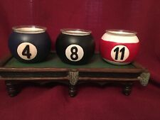 Minature Pool Table With 3 Balls Candleholders