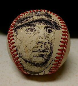 DAVID WRIGHT original art, ink drawing on vintage, game used baseball, NY METS