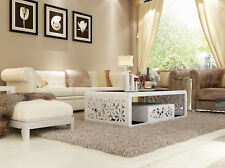 Fiore White Coffee Table High Gloss With Black Tempered Glass Top and Drawer