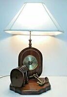 """Vtg Large 34"""" Tall REAL WOOD TABLE Nautical LAMP Anchor w/ BAROMETER Germany"""