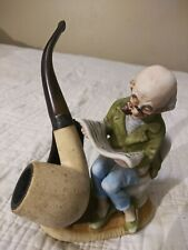 Vintage ceramic figurine stand Pipe w/ Sterling Silver Band