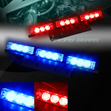 18 LED RED & BLUE TRUCK EMERGENCY HAZARD WARNING FLASH STROBE LIGHT UNIVERSAL 9