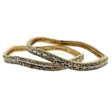 Bollywood Bangle Wavy Wedding Jewelry Gold Plated Rhinestone Bangle Set Size 210