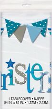 "Table Cover Blue Bunting Christening 54""x 84"" Boys Party Tableware Celebration"