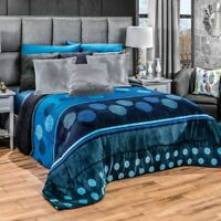 Blue Toned Sfera Flannel Sherpa Extra Soft Blanket in Thick Soft Wadding