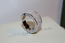 925 Sterling Silver Ring Diamond Look Eternity Wedding Band, Size 8/Q
