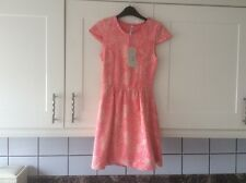 LADIES SMALL LEAF FLOCK CORAL DOLLY DRESS KNEE LENGTH