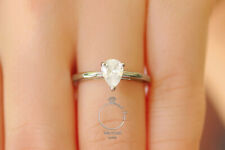 Pear shaped Engagement Ring, Bridal Wedding Promise Ring, 925 Sterling Silver