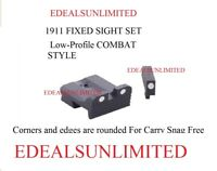 1911 FIXED SIGHT SET Front & Rear Low-Profile COMBAT STYLE  Fits COLT RUGER S&W