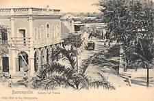 BARRANQUILLA, COLOMBIA, CALLEJON DEL TRANVIA WITH TROLLEY OVERVIEW, c 1902