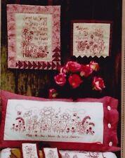 PATTERN - Spring Garden Redwork - fun stitchery PATTERN - 4 designs